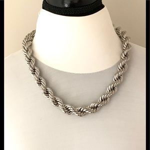 NAPIER SILVER CHUNKY TWISTED ROPE NECKLACE